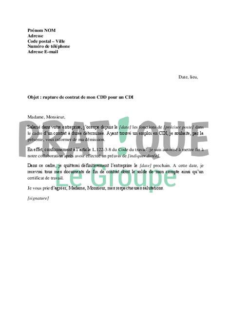 lettre de d 233 mission d un cdi application letter