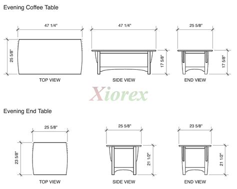 16932 Coffee Table Dimensions Coffee Table And End Table