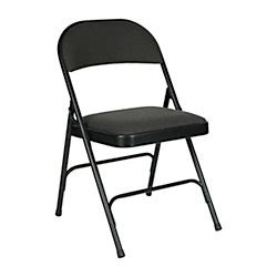 officemax charcoal padded folding chair by office depot