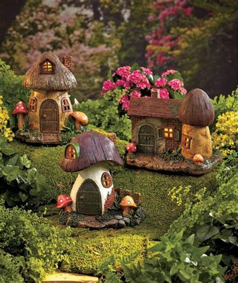 Gnome Homes For Gardens solar lighted gnome home garden statue yard