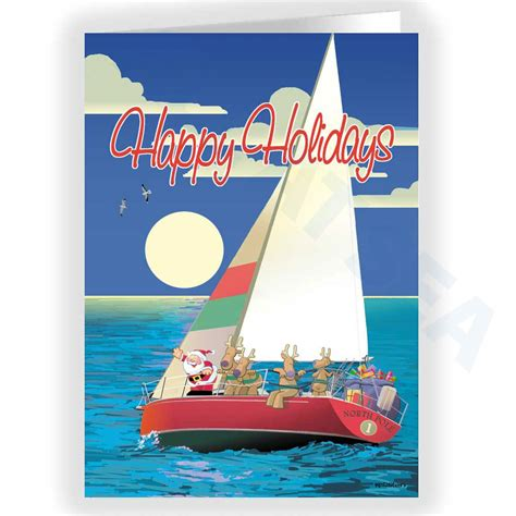 Boatus Christmas Cards by Holiday Sail Boat Card All At Sea