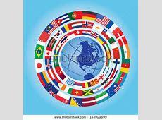 Circles Flags Around Globe Stock Vector 143909899