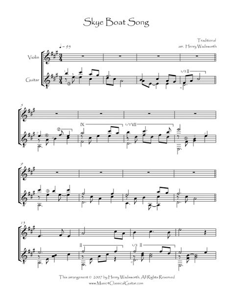 Skye Boat Song For Violin by Skye Boat Song Violin And Guitar