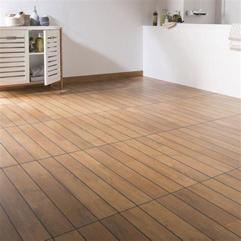 carrelage sol et mur teak effet bois caravelle l 30 x l 60 4 cm leroy merlin