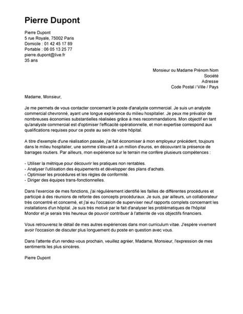 lettre de motivation analyste commercial exemple lettre de motivation analyste commercial