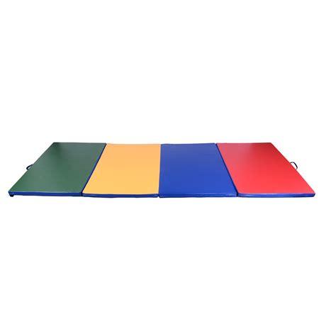 homcom tapis de gymnastique pliable natte de matelas fitness 305x122x5cm multicolore aosom