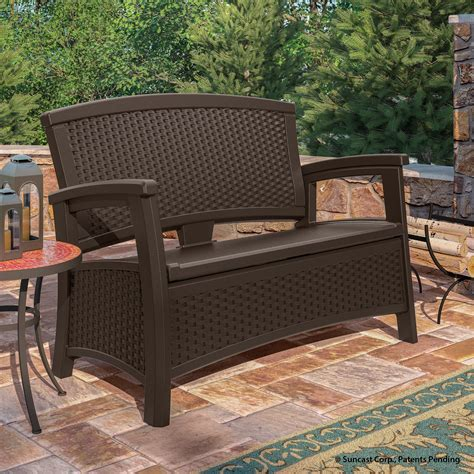 suncast elements loveseat with storage java outdoor living patio furniture benches