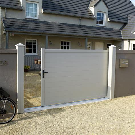 portail coulissant aluminium lao blanc naterial l 300 x h 170 cm leroy merlin