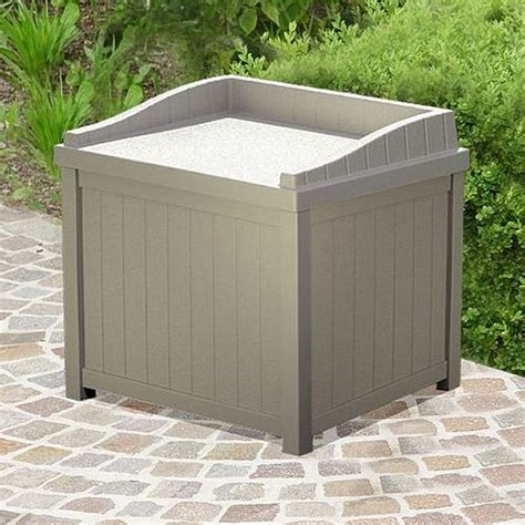 suncast plastic small deck box with seating 2 x 2 taupe elbec garden buildings
