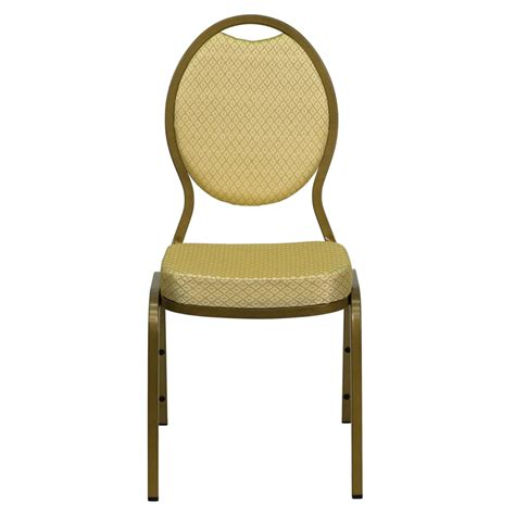 teardrop back stacking banquet chair with beige patterned fabric and gold frame finish