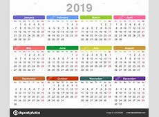 2019年年历 星期一首 在白色背景下隔离的彩色矢量插图 — 图库矢量图像© scanrail #220240260