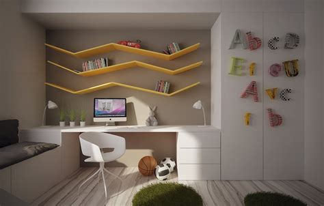 beautiful study room with orange wall and corner computer desk also vertical shelving