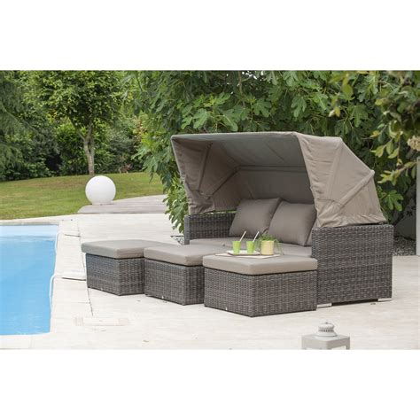 salon bas de jardin caleche r 233 sine tress 233 e gris anthracite table 3 fauteuils leroy merlin