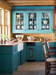 teal cabinets rustic look kitchen home