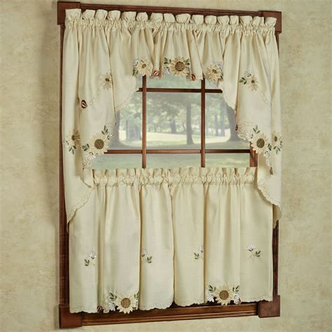 sunflower embroidered kitchen curtains tiers valance or swag ebay