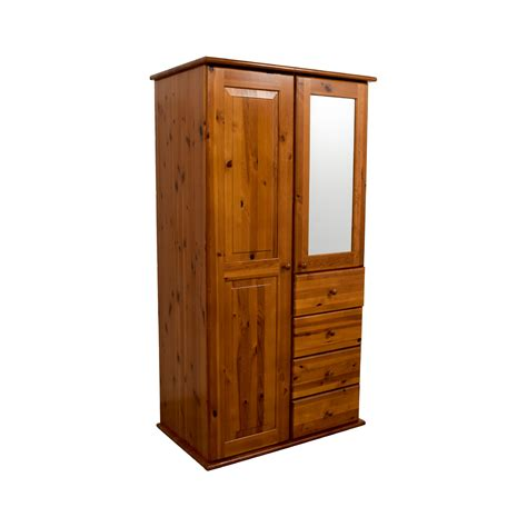 69% Off  Wood Armoire With Rack Drawers And Shelves Storage