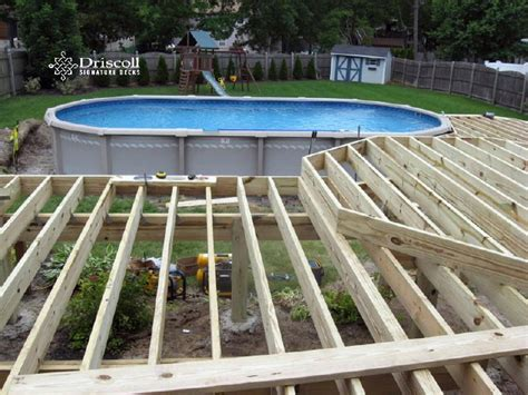 add the joist to each deck quadrant deck framing above ground pool deck framing agp deck