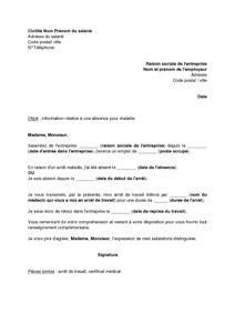 exemple gratuit de lettre information 224 employeur une absence maladie