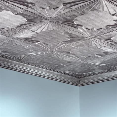 fasade ceiling tile 2x4 direct apply deco in crosshatch silver