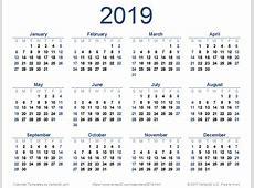 2019 Calendar printable yearly calendar