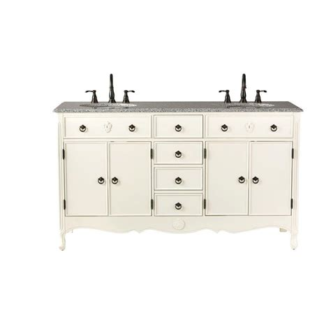 home decorators collection 61 in w vanity in ivory with marble vanity top in grey with