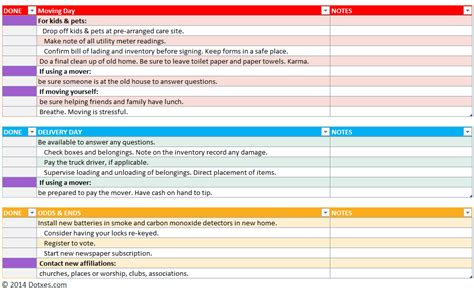 Home Moving Checklist Template (professional Version)
