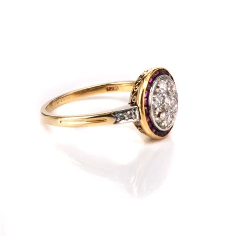 deco ruby and cluster ring