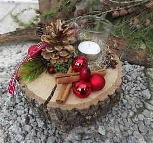 Neue Deko Ideen : weihnachten advent holz gesteck teelicht auf holzscheibe rot natur 2 weihnachtsdekoration ~ Markanthonyermac.com Haus und Dekorationen