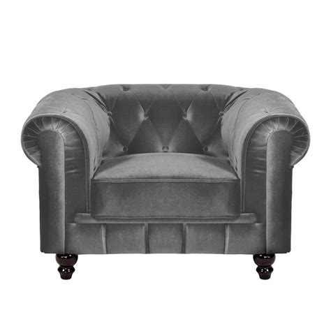 deco in fauteuil velours gris chesterfield fau chester 1p velours gris
