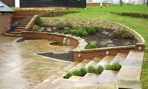 patio designs ideas for sloping garden landscaping gardening ideas