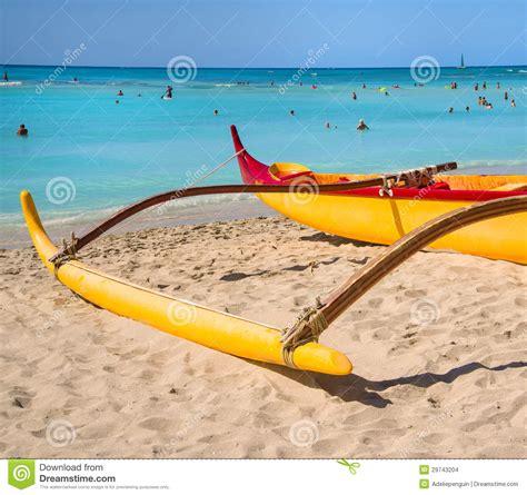 Canoes Beach Oahu by Outrigger Canoe Waikki Beach Oahu Hawaii Editorial