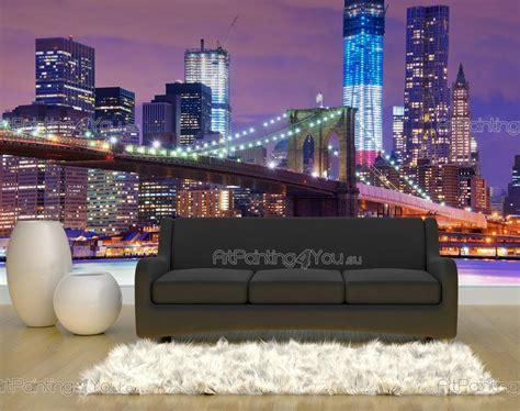 papier peint ville poster impression sur toile pont new york 708fr