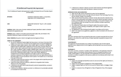 Intellectual Property Sale Agreement Template