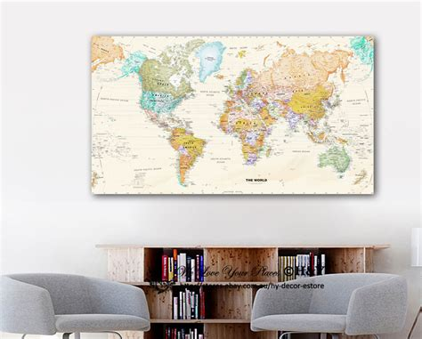 Ebay Home Decor : World Map Stretched Canvas Prints Framed Wall Art Home