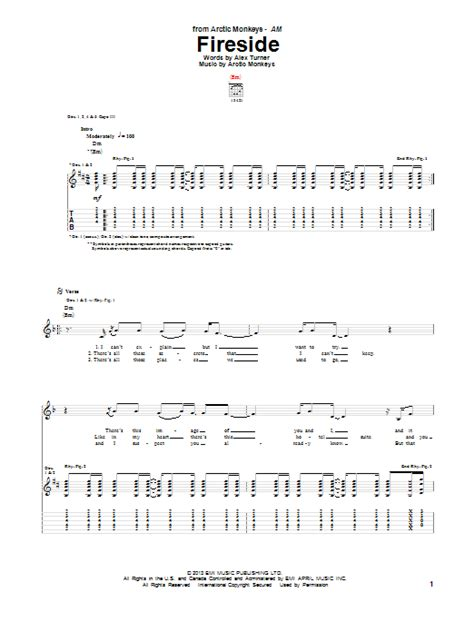 arctic monkeys fireside guitar tab sheetmusicdirect