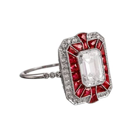 and ruby deco style ring in platinum at 1stdibs