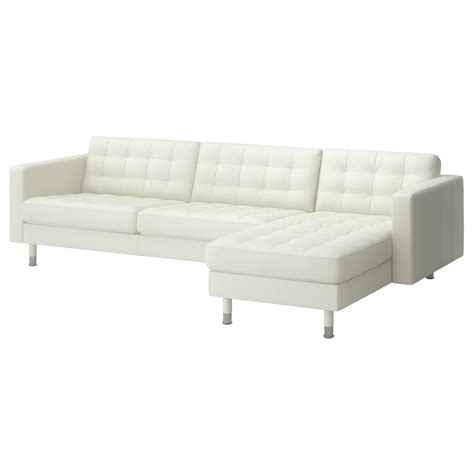 landskrona three seat sofa and chaise longue grann bomstad white metal ikea