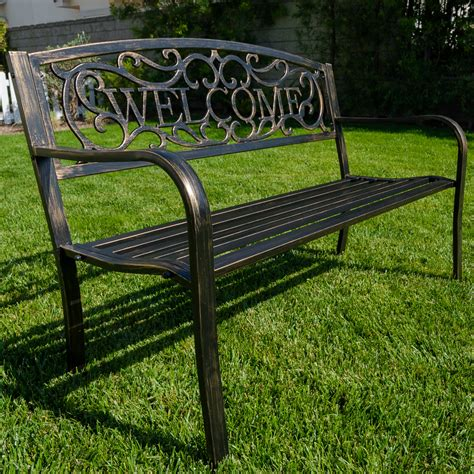 "New 50""inch Outdoor Garden Bench Patio Furniture Welcome"