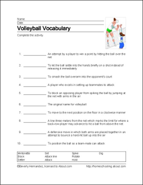 Volleyball Word Search, Vocabulary, Crossword And More
