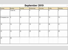 September 2019 Calendar calendar for 2019
