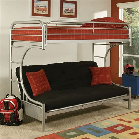 acme furniture eclipse xl and futon bunk bed in silver 02093si