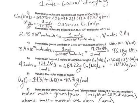 Moles Worksheet #2 Youtube