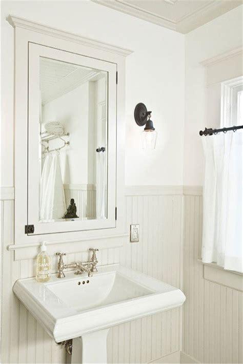 White Bathroom With Cream Beadboard Maybe Do The Opposite