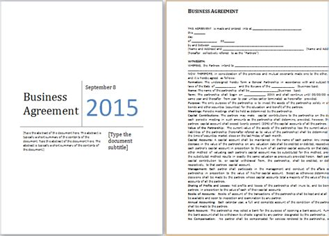 Ms Word Business Agreement Template