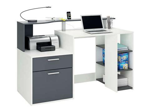 bureau 140 cm oracle coloris blanc et gris vente de bureau conforama
