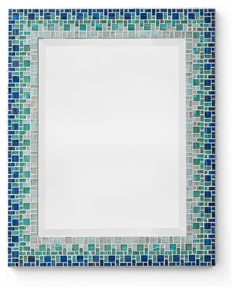 blue mosaic mirror classic collection style bathroom mirrors other metro