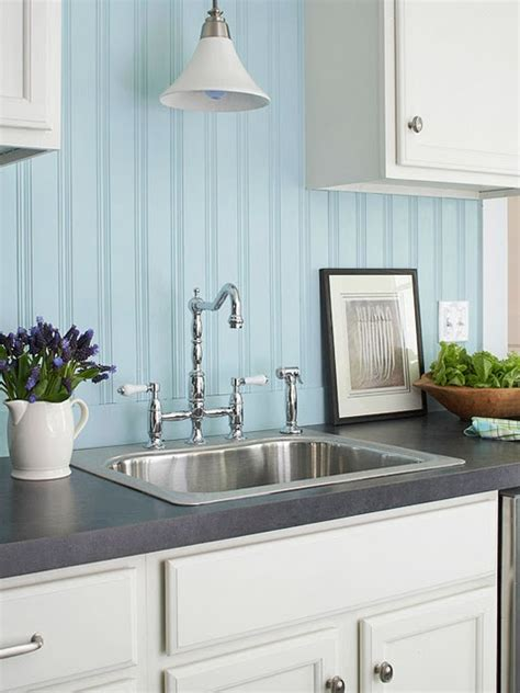 Beadboard Backsplash Painted Blue With White Cabinets