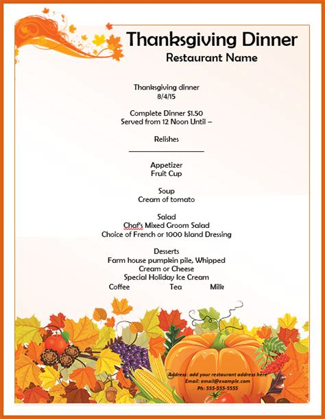 Thanksgivng Dinner Pages Template by Thanksgiving Menu Template Templates Data
