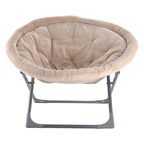 oversized large folding saucer moon chair corduroy seat living room beige chairs