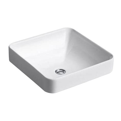 kohler vox vitreous china vessel sink in white with overflow drain k 2661 0 the home depot
